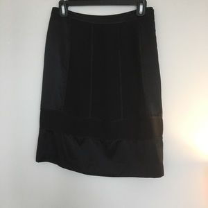 DKNY black satin panel dress skirt